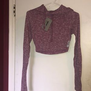 Slounge Cropped Pull Over- Deep Plum Marl